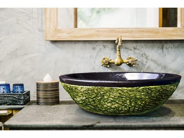 JUNGLE - nablatowa umywalka artystyczna ręcznie wykończona Kategoria Umywalki Szerokość 60 cm Nablatowe Owalne Ceramika Kolor Czarny