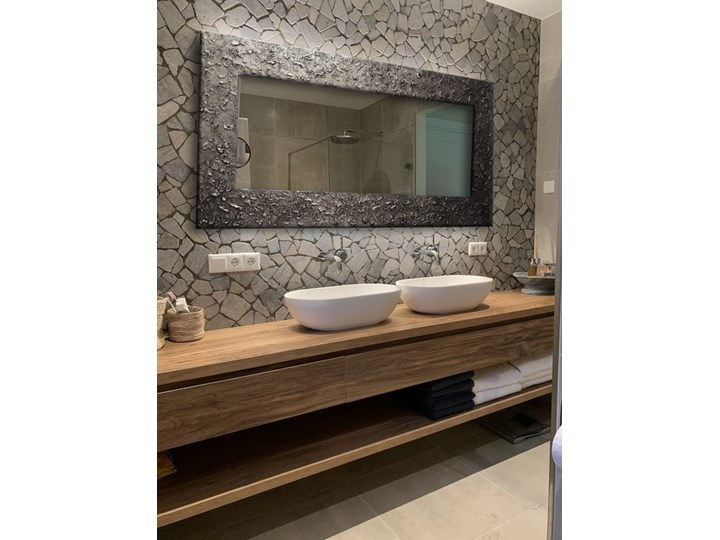 SILVER - duża artystyczna ręcznie wykończona rama do lustra 80x170cm Prostokątne Lustro z ramą Ścienne Kolor Czarny