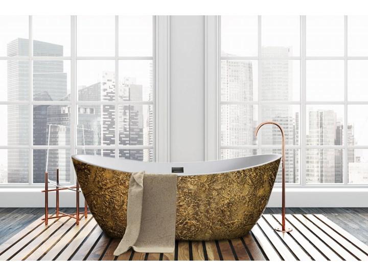 Goldenna - artystyczna ekskluzywna wanna ze strukturą Wolnostojące Kolor Złoty Akryl Długość 170 cm Owalna Kategoria Wanny