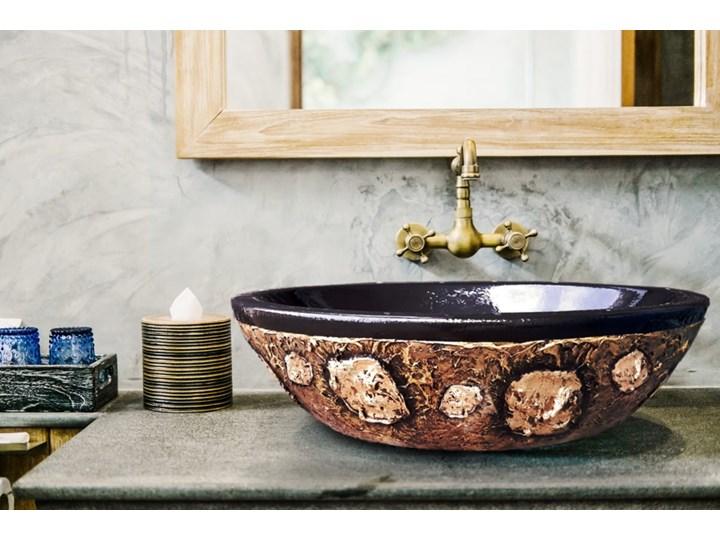 ETNICA - nablatowa umywalka artystyczna ręcznie wykończona Ceramika Nablatowe Owalne Szerokość 60 cm Kolor Czarny