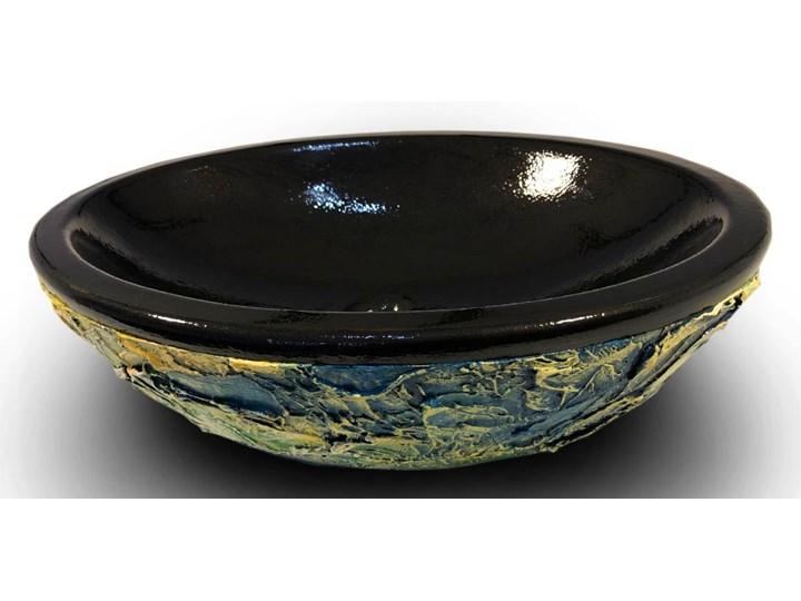 STILISTA - nablatowa umywalka artystyczna ręcznie wykończona Szerokość 60 cm Ceramika Owalne Nablatowe Kolor Czarny