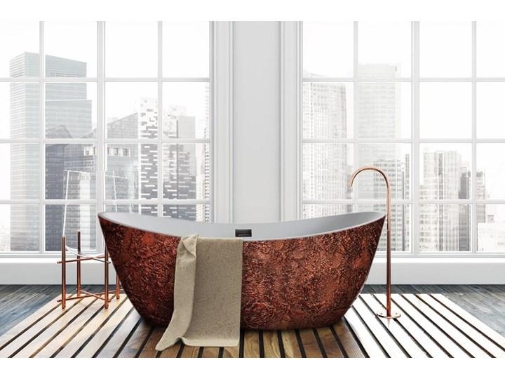 Copperra - artystyczna ekskluzywna wanna ze strukturą Akryl Owalna Długość 170 cm Wolnostojące Kategoria Wanny