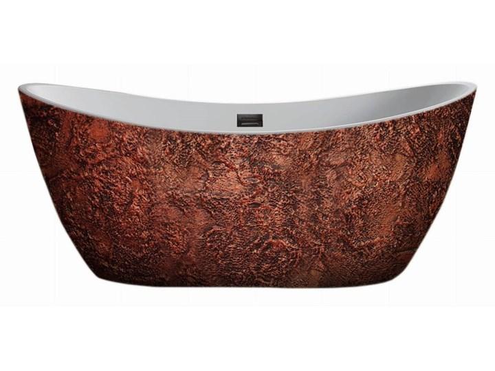 Copperra - artystyczna ekskluzywna wanna ze strukturą Długość 170 cm Akryl Wolnostojące Owalna Kategoria Wanny
