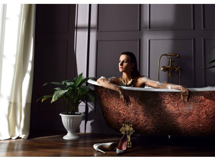 Glam Copperra - artystyczna ekskluzywna wanna ze strukturą Wolnostojące Długość 190 cm Kategoria Wanny Owalna Akryl Kolor Brązowy