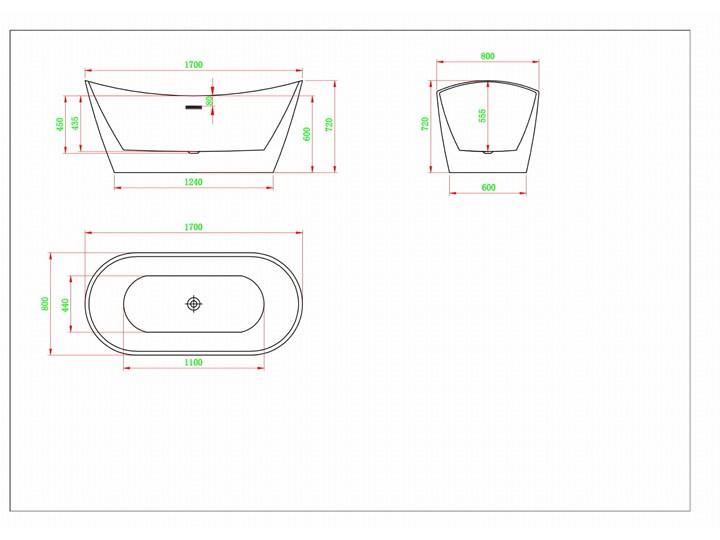 Silverra - artystyczna ekskluzywna wanna ze strukturą Akryl Wolnostojące Długość 170 cm Owalna Kategoria Wanny Kolor Szary