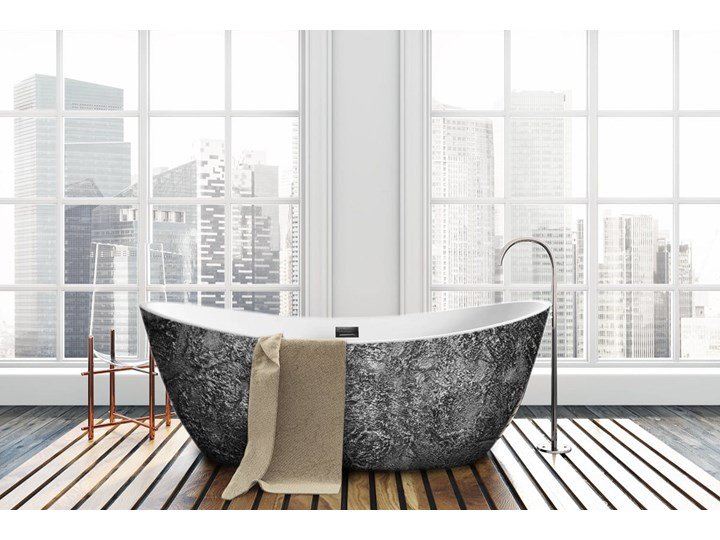 Silverra - artystyczna ekskluzywna wanna ze strukturą Wolnostojące Akryl Owalna Długość 170 cm Kategoria Wanny Kolor Szary