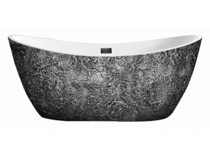 Silverra - artystyczna ekskluzywna wanna ze strukturą Długość 170 cm Owalna Wolnostojące Akryl Kategoria Wanny Kolor Szary