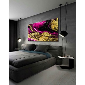 Złocona fuksja - abstrakcyjne obrazy do modnego salonu 80x170cm