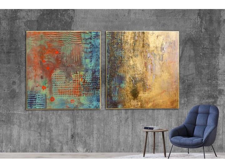 Kontrast i złoto dyptyk - obraz na płótnie 2szt 80x80cm Pomieszczenie Salon Kolor Żółty