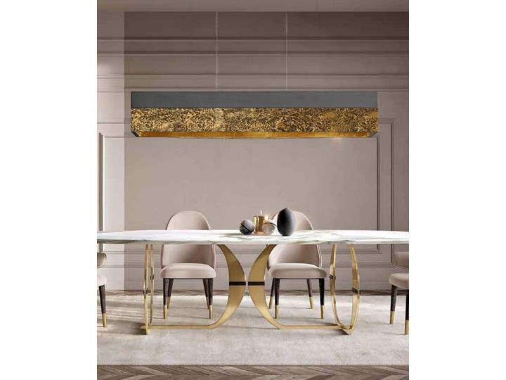 LA TEXTURA - ARTYSTYCZNA EKSKLUZYWNA LAMPA SUFITOWA DUŻA DO LOFTU Tworzywo sztuczne Metal Kolor Złoty Kategoria Lampy wiszące