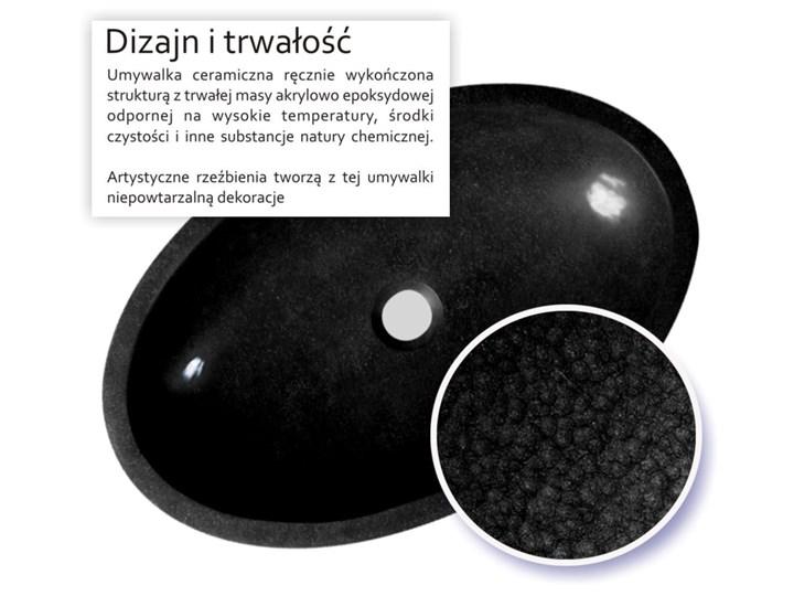 ETNICA - nablatowa umywalka artystyczna ręcznie wykończona Owalne Nablatowe Ceramika Szerokość 60 cm Kolor Czarny
