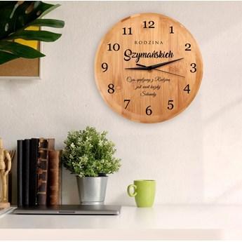 Zegar Ścienny Bambusowy Z Nadrukiem Czas Dla Rodziny