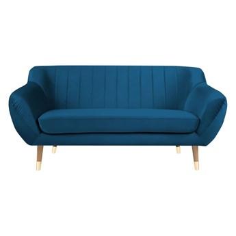 Niebieska aksamitna sofa Mazzini Sofas Benito, 158 cm