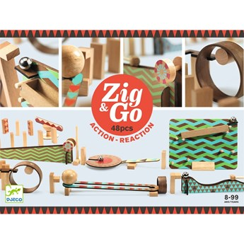 Drewniany tor dla dzieci Djeco Zig Go, 48 części