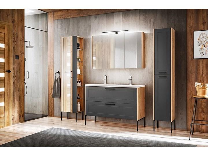 Grafitowa industrialna szafka pod umywalkę - Saloma 3X 120 cm Wysokość 61 cm Stojące Kategoria Szafki stojące Głębokość 46 cm Kolor Beżowy