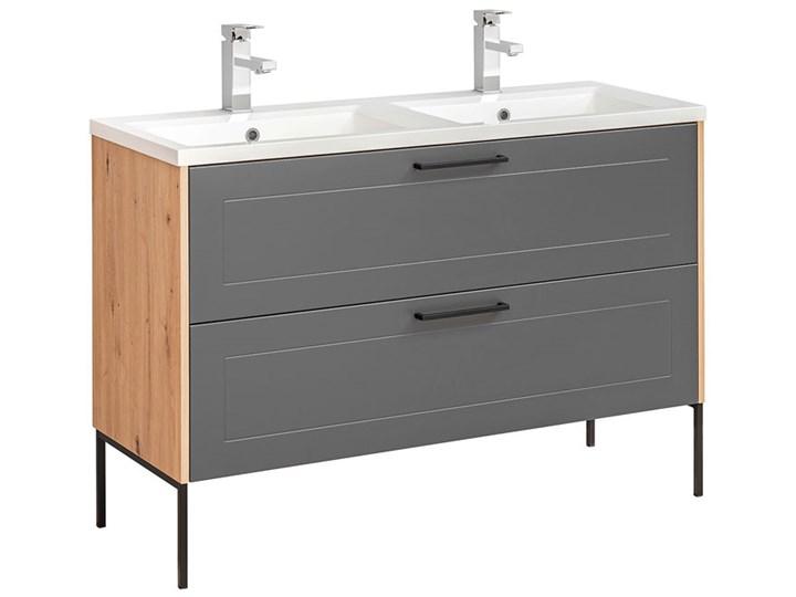 Grafitowa industrialna szafka pod umywalkę - Saloma 3X 120 cm Głębokość 46 cm Wysokość 61 cm Stojące Kategoria Szafki stojące