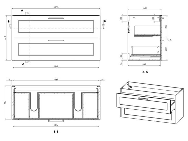 Grafitowa industrialna szafka pod umywalkę - Saloma 3X 120 cm Stojące Wysokość 61 cm Głębokość 46 cm Kolor Beżowy Kolor Szary