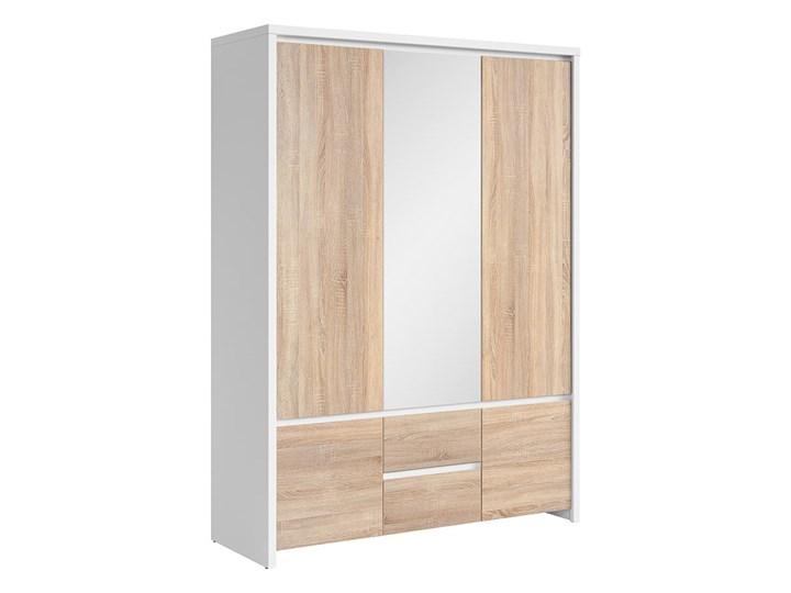 Szafa Kaspian - Kolor: Biały/Dąb Sonoma - Black Red White - BRW Tworzywo sztuczne Drewno Pomieszczenie Garderoba