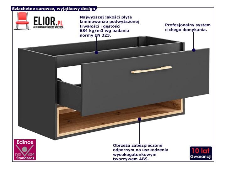 Podwieszana szafka łazienkowa pod umywalkę - Ketris 3X 120 cm Szafki Wiszące Głębokość 46 cm Wysokość 57 cm Kolor Szary