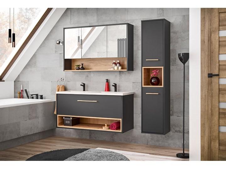 Podwieszana szafka łazienkowa pod umywalkę - Ketris 3X 120 cm Szafki Kolor Beżowy Wiszące Wysokość 57 cm Głębokość 46 cm Kolor Szary