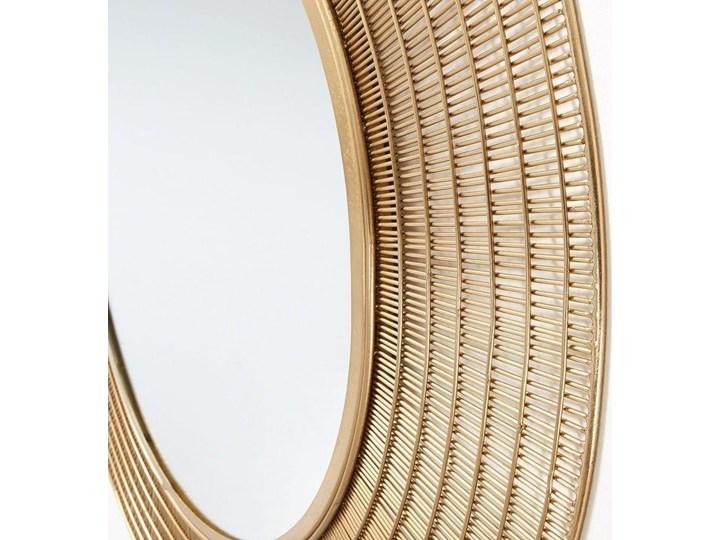 Lustro wiszące Plax ∅80 cm mosiężne Okrągłe Ścienne Lustro z ramą Pomieszczenie Salon