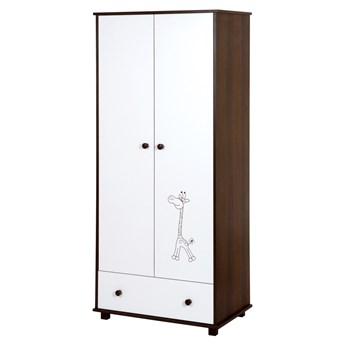 Szafa dziecięca z 2 drzwiami i szufladą Żyrafka biały/orzech