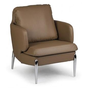 Fotel skórzany LUXOR, brązowy