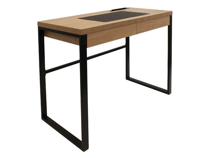 Industrialne biurko komputerowe Dolem z nakładką z ekoskóry