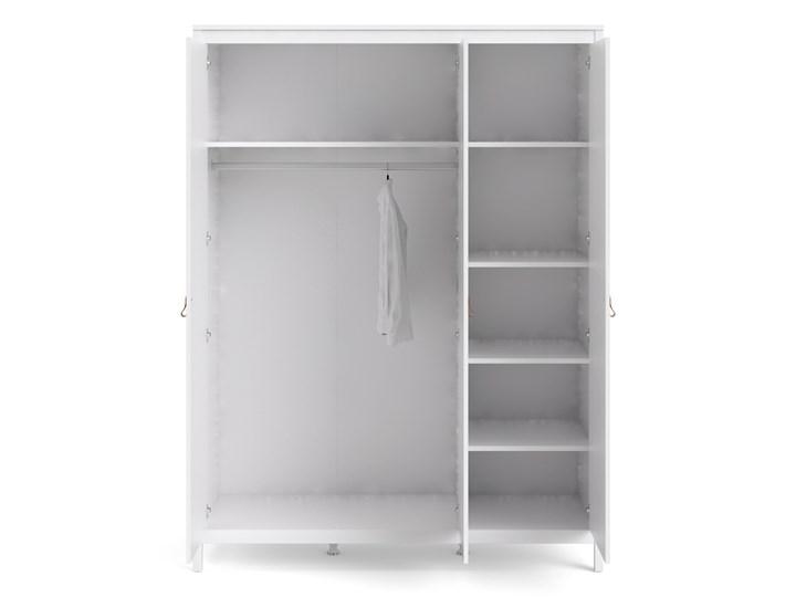 Trzydrzwiowa szafa ubraniowa na nóżkach Madrid 3D biały mat Głębokość 58 cm Szerokość 150 cm Wysokość 199 cm Ilość drzwi Trzydrzwiowe