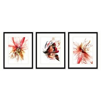 SERIA RED ME - Obrazy barwnych kwiatów oraz motyla. Ekspresyjna czerwień ożywiająca wnętrze.