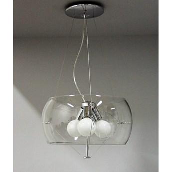 Transparentna lampa wisząca ozcan 4200-2 transparentny żyrandol lustro chrom