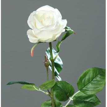 Róża Sztuczna 66 cm - Biała - Naturalna w Dotyku