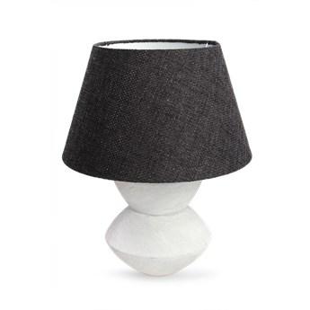 Pokojowa lampa z czarnym abażurem i masywnym stojakiem ceramicznym 58 cm, STONE COLLECTION