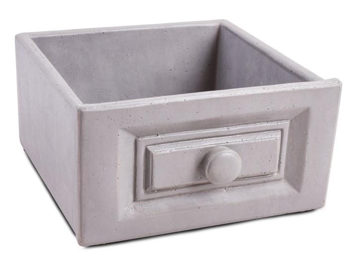 Kamionkowa osłonka na doniczkę prostokątna, szara