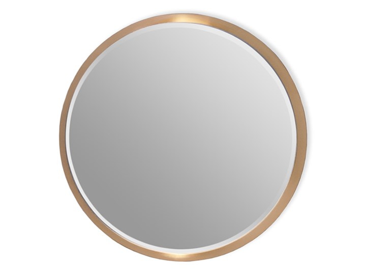 Okrągłe fazowane lustro w złotej ramie średnica 60 cm 12F-361