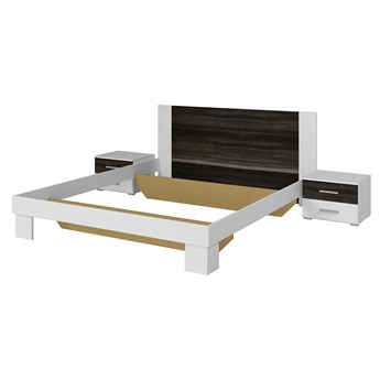 Łóżko 180x200 + stoliki nocne VERA VE52 biały / orzech czarny