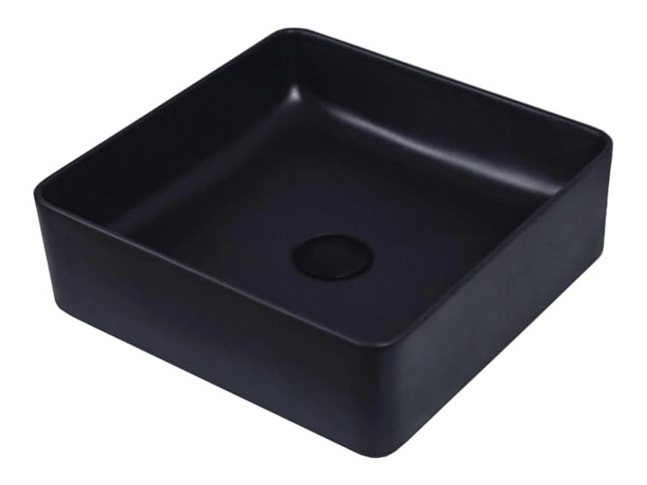 VELDMAN UMYWALKA CZARNA MATOWA OSLO Ceramika Kwadratowe Kolor Czarny Meblowe Nablatowe Szerokość 36 cm Kategoria Umywalki