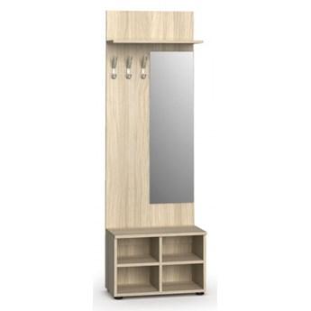 Garderoba z szafką na buty i lustrem PRIMO, 3 haczyki, półka, dąb naturalny