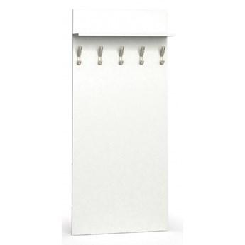 Garderoba z wieszakami PRIMO, 5 haczyków, półka, biały