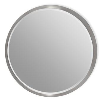 Okrągłe fazowane lustro w srebrnej ramie średnica 80 cm 12F-361