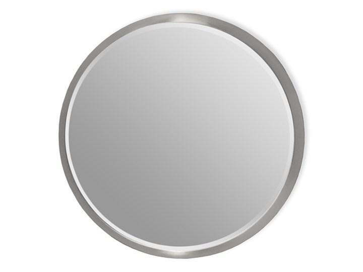 Okrągłe fazowane lustro w srebrnej ramie średnica 60 cm 12F-361