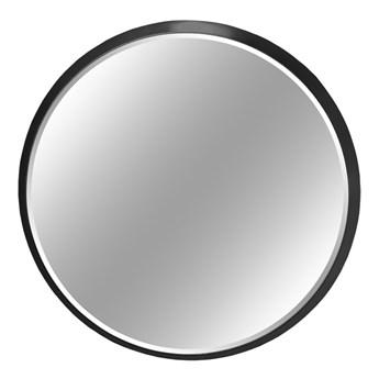 Okrągłe fazowane lustro w czarnej ramie średnica 100 cm 12F-361