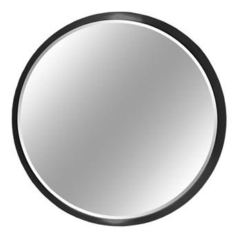 Okrągłe fazowane lustro w czarnej ramie średnica 80 cm 12F-361