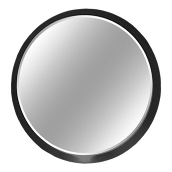 Okrągłe fazowane lustro w czarnej ramie średnica 60 cm 12F-361