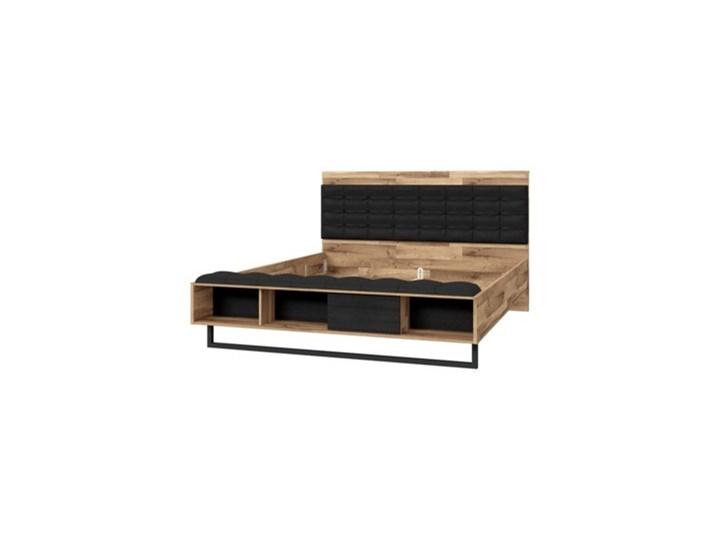 Salony Agata  Łóżko JAKOBINA 160x200 Łóżko drewniane Kolor Czarny Drewno Kategoria Łóżka do sypialni