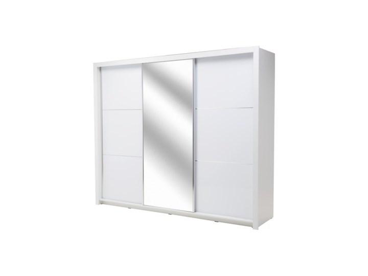 Salony Agata  Szafa SIENA 3D TYP 11 z oświetleniem Płyta MDF Tworzywo sztuczne Płyta laminowana Kolor Biały