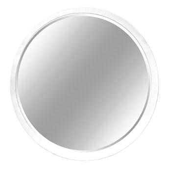 Okrągłe fazowane lustro w białej ramie średnica 60 cm 12F-361