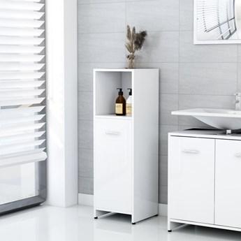 vidaXL Szafka łazienkowa, biała, wysoki połysk, 30x30x95 cm, płyta