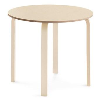 Stół ELTON, Ø 900x710 mm, beżowe linoleum, brzoza
