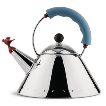Czajnik gazowy z gwizdkiem Alessi ptaszek polerowany błękitna rączka kod: 9093